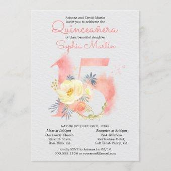 Blush Pink Quinceanera and Mass Floral Number 15 Invitation
