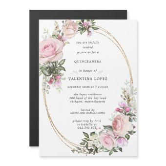 Blush Pink Rose Floral Gold Quinceanera Magnetic Invitation