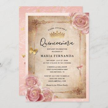 Blush Pink Watercolor Rose Gold Quinceanera Invitation
