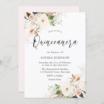 Blush White Winter Forest Quinceanera Party Invitation