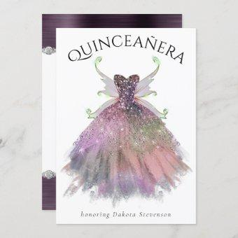 Boho Glam   Dusty Plum Luxe Fairy Gown Quinceanera Invitation