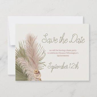 Boho Pampas Grass Western Quinceanera Save The Date