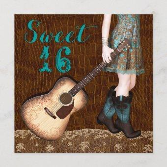 Brown and Teal Blue Cowgirl Sweet Sixteen Party Invitation