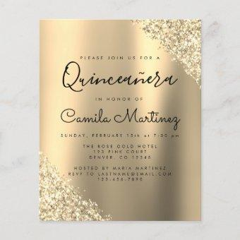 Budget Gold Quinceanera Glitter Party