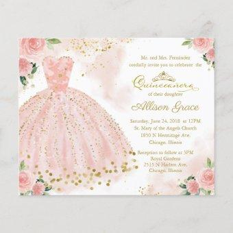 Budget Quinceanera Invitation Bilingual Pink Gown