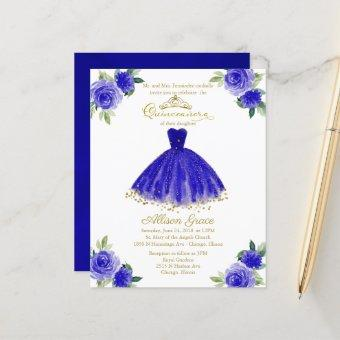Budget Quinceanera Invitation Gold Royal Blue Gown