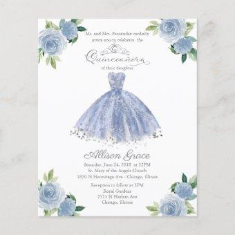 Budget Quinceanera Invitation Light Blue Gown