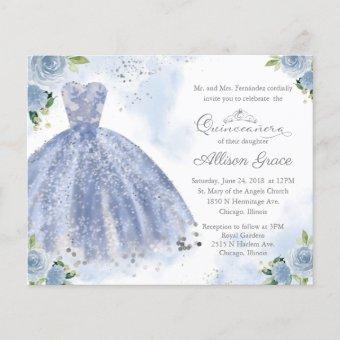 Budget Quinceanera Invitation Silver Blue Gown