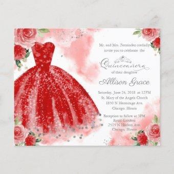 Budget Quinceanera Invitation Silver Red Gown
