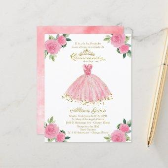 Budget Quinceanera Invitation Spanish Pink Gown