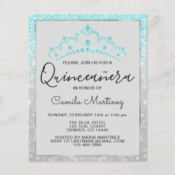 Budget Quinceanera Teal Blue Girly Glitter