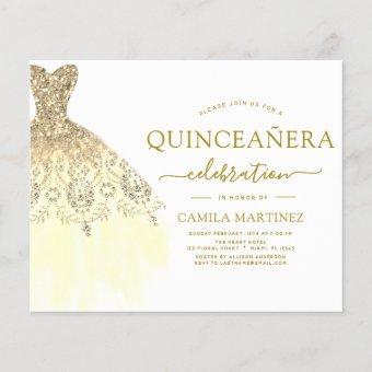 Budget Quinceanera White and Gold Glitter