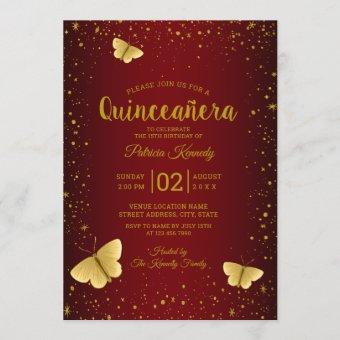 Burgundy And Gold Glitter Butterfly Quinceanera Invitation