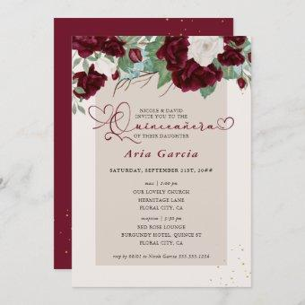 Burgundy Ivory Floral Roses Quinceanera and Mass Invitation