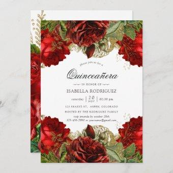 Burgundy Red and Gold Vintage Roses Quinceañera Invitation