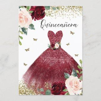 Burgundy Red Gown Dress Blush Floral Quinceanera Invitation