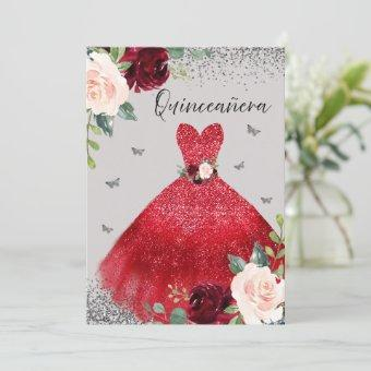 Burgundy Red Gown Dress Silver Gray Quinceanera Invitation