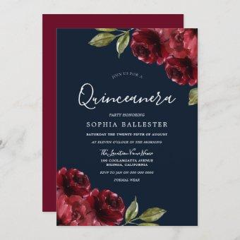 Burgundy Red & Navy Floral Quinceanera 15th Party Invitation