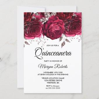 Burgundy Red Rose Silver Floral Quinceanera Party Invitation