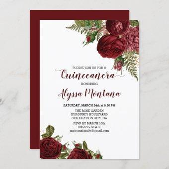 Burgundy Red Roses Floral Quinceanera Invitation