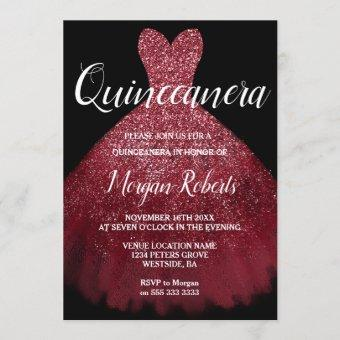 Burgundy Red Sparkle Dress Quinceanera 15th Party Invitation