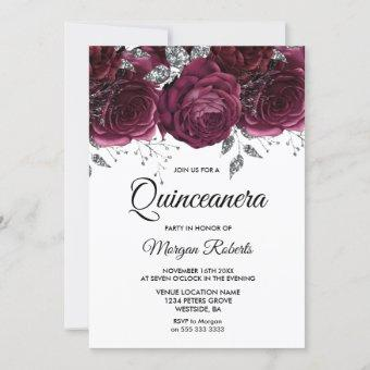 Burgundy Roses Silver Floral Quinceanera Party Invitation