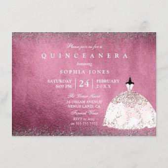 Burgundy Silver Rose Gold Pink Quinceanera Invite