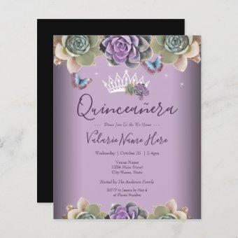 Cactus and Butterfly Elegant Quinceanera