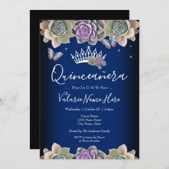 Cactus and Butterfly Elegant Quinceanera Invitation