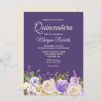 Champagne Rose Purple Flowers Quinceanera Party Invitation