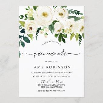 Champagne White Flowers Elegant Quinceanera Party Invitation