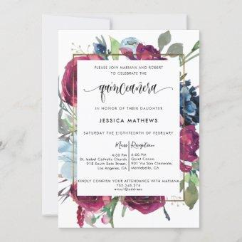Chic Burgundy, Berry Red Blue Floral  Quinceañera Invitation