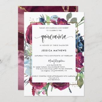Chic Burgundy Red, Berry Blue Floral  Quinceañera Invitation