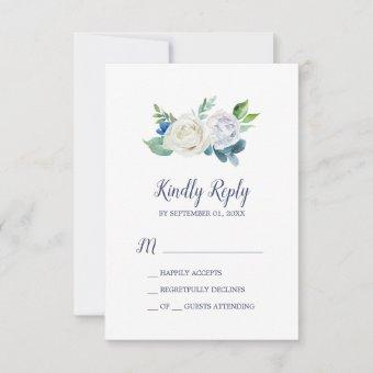 Classic White Flowers Simple RSVP Card