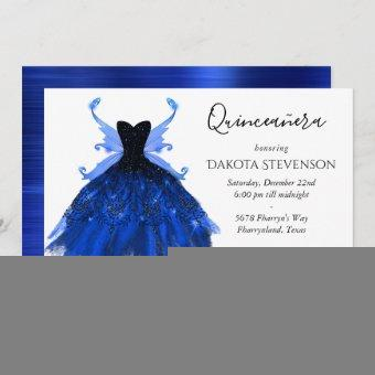 Cool Blue Grunge Gown and Fairy Wings Quinceanera Invitation