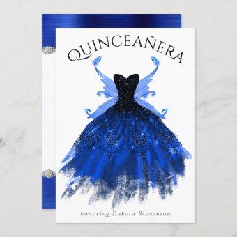 Cool Ice Princess Blue Fairy Gown   Quinceanera Invitation