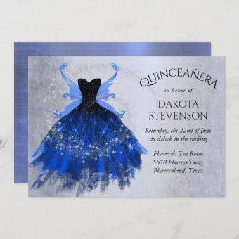 Cool Iridescent Blue Fairy Wing Gown | Quinceanera Invitation