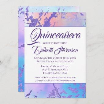 Cool Marble   Blue Purple Pink Ombre Quinceanera Invitation