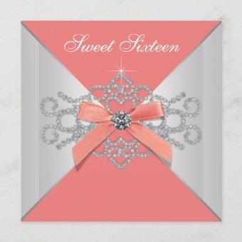 Coral Diamonds and Coral Birthday Party Invitation