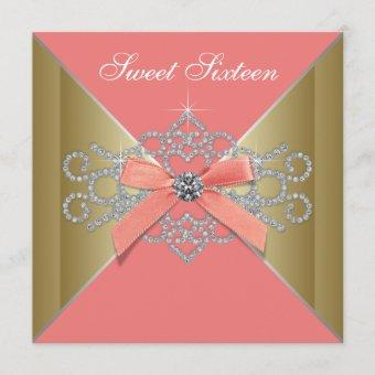 Coral Diamonds Coral Gold Sweet 16 Birthday Party Invitation