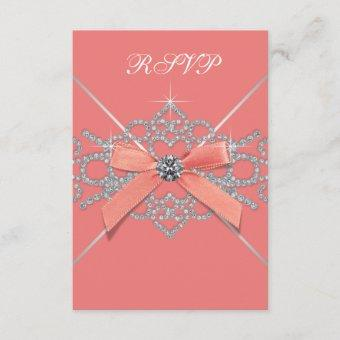 Coral Diamonds Coral Sweet 16 Birthday Party RSVP