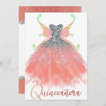 Coral Mint Quinceanera Sparkle Gown Pixie Wings Invitation