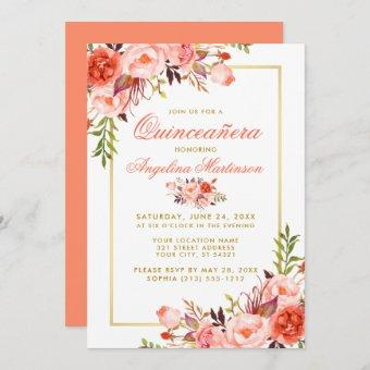 Coral Watercolor Floral Quinceanera Gold Frame Invitation