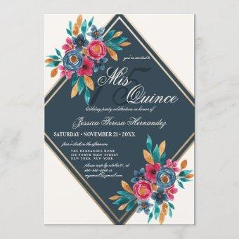 Country Fall Gold Watercolor Flowers Quinceañera Invitation