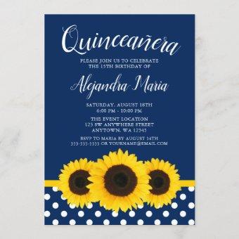 Country Sunflower Navy Blue Quinceanera Invitation