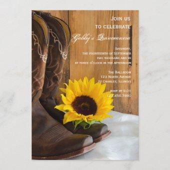 Country Sunflower Western Quinceanera Barn Party Invitation