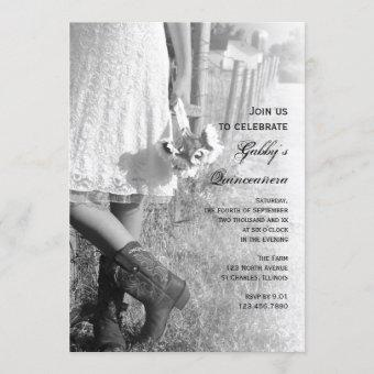 Cowgirl and Sunflowers Country Western Quinceañera Invitation