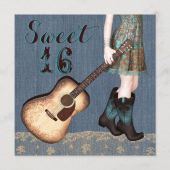 Cowgirl Sweet Sixteen Party Invitation