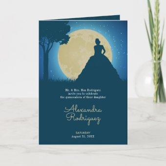 Crowned Silhouette with Moon Quinceanera Invitation