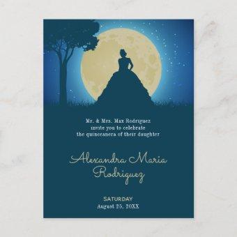 Crowned Silhouette with Moon Quinceanera Invitation Postcard
